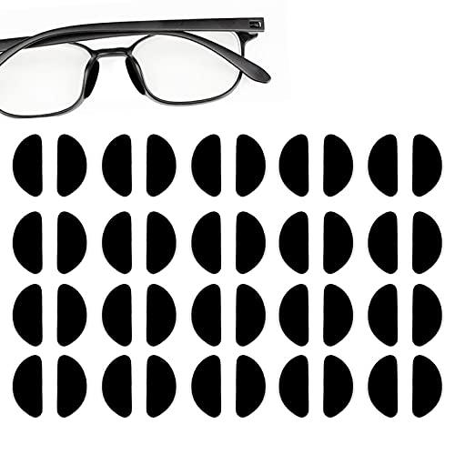 Clyhon Nasenpads für Brille Selbstklebend, 20 Paar aufklebbare weiche Nasenpads rutschfest Silikon-Nasenpads (1mm Black)