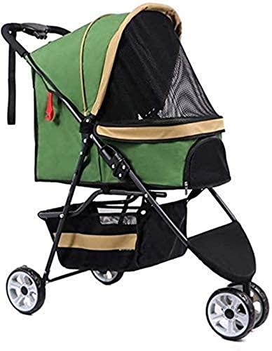 Cochecito para mascotas, carrito de viaje para perros, carrito para silla de paseo para perros y gatos, con hebilla de cinturón de seguridad para el coche, transportador de tres ruedas para cachorros