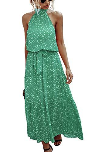 Spec4Y Kleid Damen Boho Blumendruck Sommerkleid Ärmellos Lang Elegant Strandkleid Rückenfrei Maxi Kleider mit Gürtel Grün Small