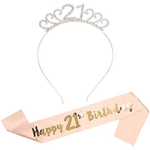 21. Geburtstags Kristall Tiara Krone Geburtstags Krone mit Rose Gold Happy 21th Birthday Geburtstags Schärpe Birthday Crown Prinzessin Kronen Haar-Zusätze - Silber