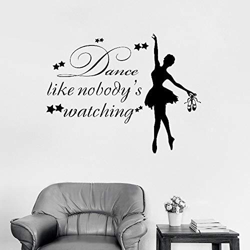 HNXDP Wandtattoo Mädchen Tänzerin Vinyl Aufkleber Zitat Tanz wie niemandes Wathing Ballerina Ballett Gymnastic Dancing Studio 108cmX84cm