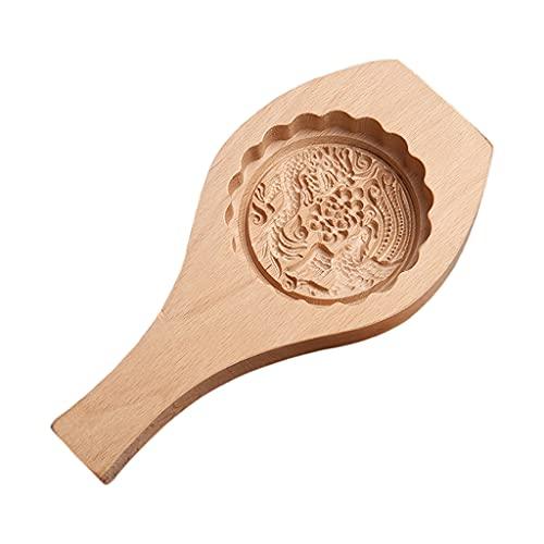 SANGHAI Material de madeira para assar lua, bolos, doces, pão cozido no vapor, impressão, macarrão, frutas, luas, cortadores de madeira, moldes planos, 3