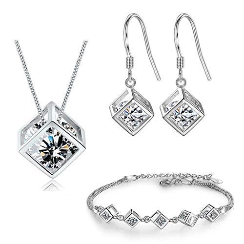 Juego de joyas cuadradas geométricas de plata esterlina conjuntos de regalo de la novia de las mujeres y conjuntos de pendientes (Color : 1)