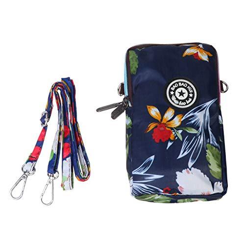 TENDYCOCO bolso de teléfono con cremallera para mujer bolso de moda soporte para teléfono cuello colgante bolsa de teléfono para viajes de viaje de compras - azul marino