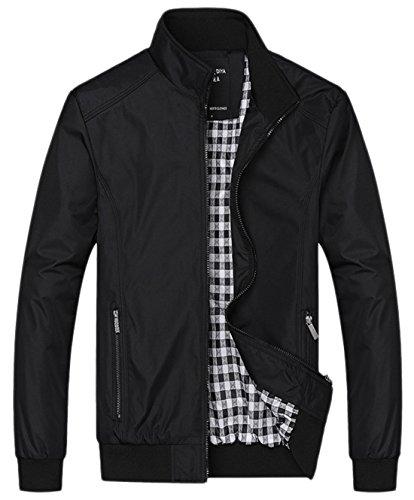 chouyatou Men's Active Lightweight Softshell Zipper Bomber Jacket (Medium, Black)