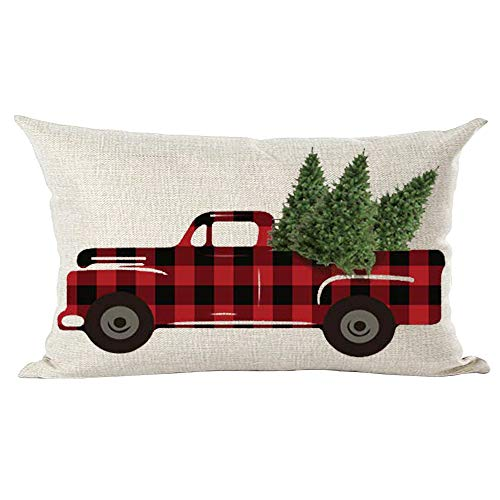 Retro Claret Wine Red Black Plaid Pickup Truck Merry Christmas Trees Decorative Lumbar Throw Pillow Cover Case Cushion Home Living Room Bed Sofa Car Cotton Linen Rectangular 12 x 20 Inches