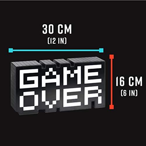 """Lampada con scritta """"Game Over"""", nera, trasparente, stampata, 100% plastica, in confezione regalo"""