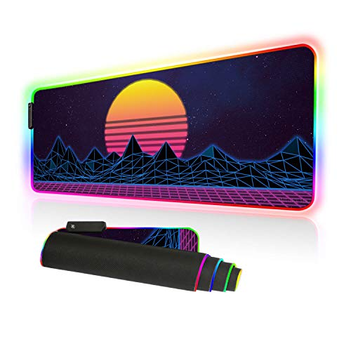 Imegny Led Gaming Mouse Pad Oversized Glowing Mat Colorful Soft Mat for Mice Computer Keyboard with Non-Slip Rubber Base Water-Resistant (80x30 rg zisesun 06)
