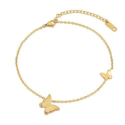 U/N Butterfly Pendant Anklet Leg Chain Beach Leg Bracelet Stainless Steel Anklet Women's Girl Chain Gift-1