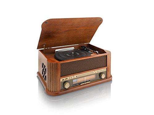Classic Phono Plattenspieler TCD-2500 USB, Radio/CaD-Spieler, 2X Lautsprecher, Fernbedienung, Riemenantrieb
