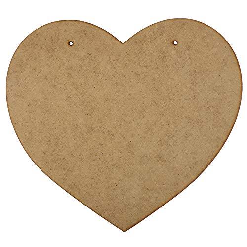 Creative Deco 2 x XL Grand MDF Plaques en Forme de Cœur | 220 mm x 200 mm | avec Trous | Léger Bois Signes | Idéal pour Découpage, Décoration, Vernis, Peinture et Travaux Manuels