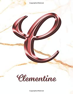 Clementine: 1 Year Weekly Planner with Note Pages (12 Months)   White Marble Rose Gold Pink Effect Custom Name Letter C   ...