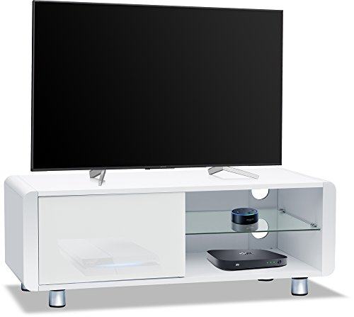 """Centurion Supports Amalfi Gloss White with White Sides Beam-Thru Remote Friendly 32""""-55"""" Flat Screen TV Cabinet"""