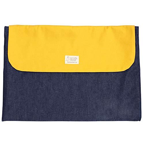 防災頭巾カバー 名入れ無料 小学生 幼児 背もたれ 座布団 日本製 男の子 女の子 防災グッズ (デニムイエロー) 刺繍