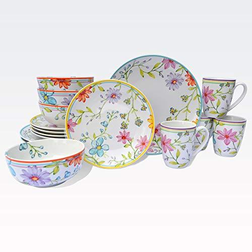 Euro Ceramica Charlotte Collection Stoneware 16 Piece Dinnerware Set, Service for 4, Watercolor Floral Design, Multicolor