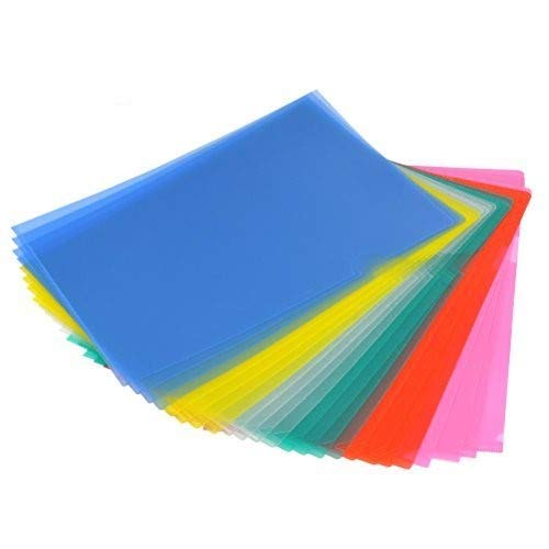 YOTINO 24 Pack Clear File Folder Project Pockets, Colored Plastic File Project Cover-A4 Size(6 Different Colors)