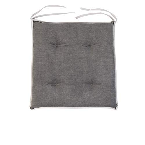 Loft 25 Chair Seat Pad | Slip Free Tufted hypoallergenic Cushion | kitchen Dining Room | Soft Comfy Seating | Secure Ties (Graphite, 1 Piece)