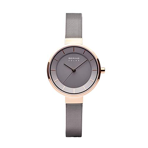 BERING Damen Analog Solar Uhr mit Edelstahl Armband 14631-369
