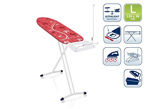Leifheit Air Board Express L Solid - Tabla de planchar de plástico, color rojo/blanco, 130x38 cm