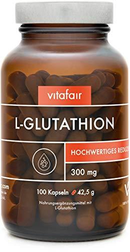 VITAFAIR L-Glutathion - Reduziert, hochdosiert - 100 Vegane Kapseln in Braunglas, Ohne Zusätze - Antioxidantien zur Verringerung freier Radikale - Tripeptid: Glutaminsäure, Cystein und Glycin