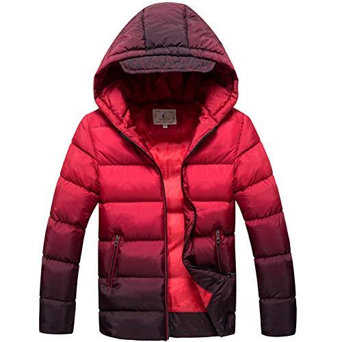 SXSHUN Niños Chaqueta Impermeable de Invierno Abrigo Acolchado de Algodón con Capucha para Chicos, Rojo, 12-14 años (Etiqueta: 160cm)