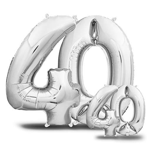 envami Globos de Cumpleãnos 40 Plateado I 101 CM + 40 CM Globos 40 Años I Globos Numero 40 I Decoracion 40 Cumpleaños Mujer Hombre I Globos Numeros Gigantes para Fiestas I Vuelan con Helio