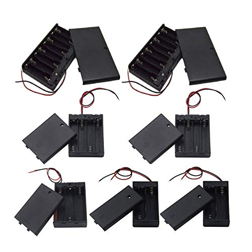 DaFuRui[7 Pack] 4 Types AA Battery Holder with Switch;2Pcs 2x1.5V AA,1Pcs 3x1.5V 3 AA,2Pcs 4x1.5V AA and 2pcs 8x1.5V AA Battery Storage Box Case with Wire Leads