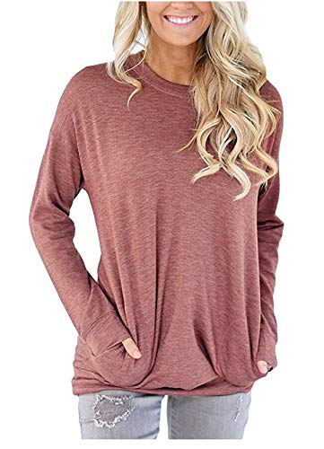 onlypuff Batwing Loose Tops for Women Pocket Shirts Comfy Cotton Basic Tunics Red M