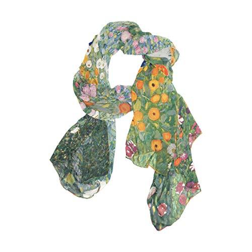 Ahomy Damen Schal, Gustav Klimt Blumen-Design, lang, weich
