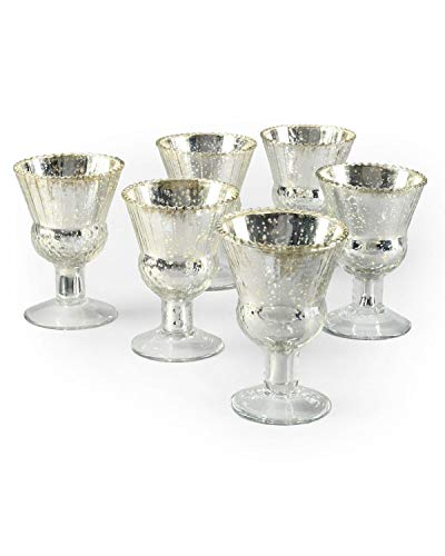 """Serene Spaces Living 4.5"""" Mercury Glass Coupe Vases – Handmade, Vintage-Inspired Silver Vases Add Elegance to Any Space, 4.5"""" T x 3.5"""" Diameter, Set of 6"""