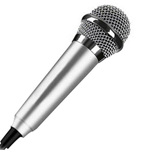 Mini 3,5 mm Kondensator-Mikrofon für Handy, Computer, Karaoke, Handheld, Kleiner Recorder für Handy mit Kabel, Karaoke, silberfarben