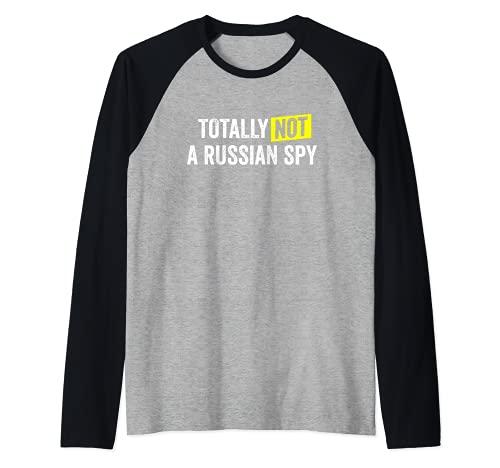 Totally Not a Russian Spy - Disfraz sarcstico (texto blanco) Camiseta Manga Raglan