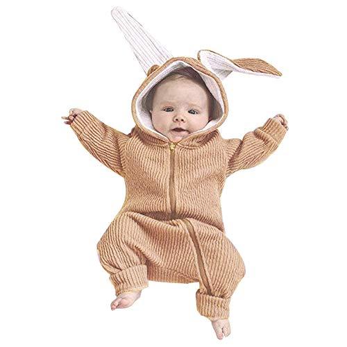 Zarupeng Baby Jungen Mädchen Langarm Kaninchen Strampler Overall Einfarbig Spielanzug mit Reißverschluss Outfits Babykleidung
