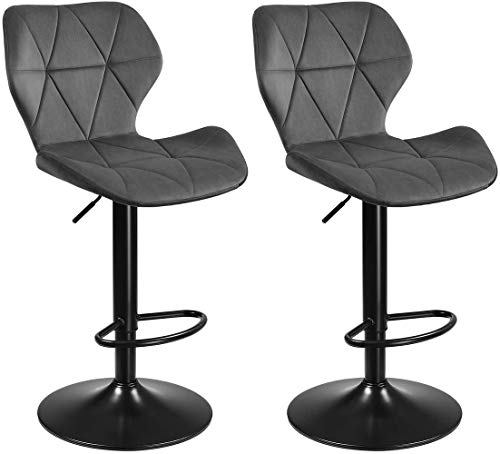 SONGMICS Barhocker, 2er Set Barstühle, Küchenstühle mit stabilem Metallgestell, Stühle mit Samtbezug, Fußstütze, Sitzhöhe verstellbar, einfache Montage, Retro, dunkelgrau LJB071G01