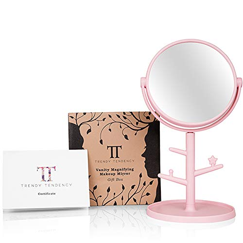 Trendy Tendency Schminkspiegel und Schmuckständer – Vergrößerungsspiegel 10X mit Geschenkbox | Tischspiegel 360° Schwenkbar | Kosmetikspiegel und Schmuckbaum | Geschenk für Frauen