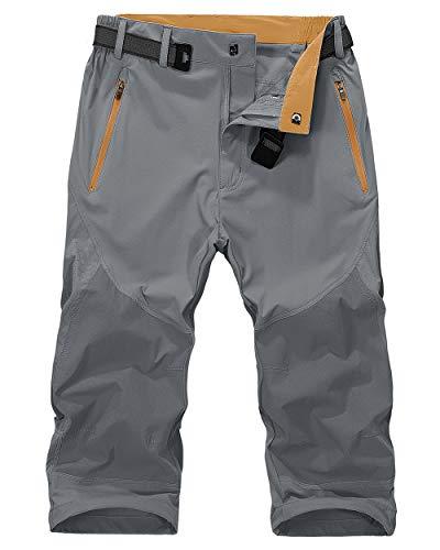 MAGNIVIT Men's Capri Shorts Pants Slim Fit Water Resistant Work Hiking Shorts Tactical Cargo Shorts Grey
