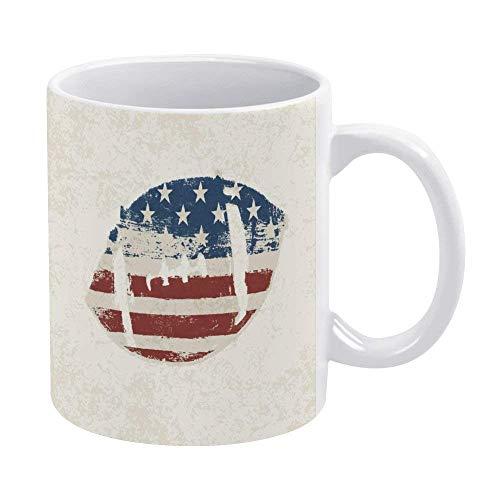 N\A Tazas de café Taza de Patriota Bandera Americana Pelota de Rugby Cosida con Tema Diseño Vintage Tema de fútbol Taza de té de Oficina