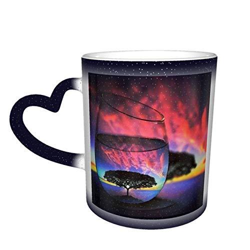 Taza de cerámica sensible al calor que cambia de color, árbol, cielo estrellado, taza que cambia de color, taza, sorpresa de cumpleaños para niños y niñas, 11 oz-42