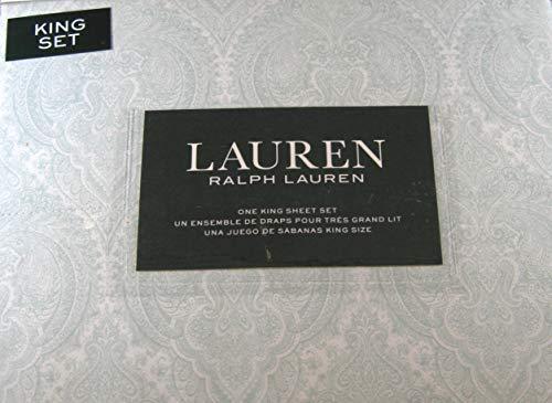 Lauren 4 Piece Light Sage Green Paisley King Size Sheet Set 100% Cotton