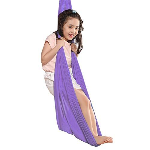 Ajustable Columpios Infantiles Hamac Swing De Terapia Capacidad Carga 200Kg Hamaca De Yoga Aérea para Adultos y Niños con Autismo ADHD Aspergers ( Color : Light purple , Size : 100x280cm/39x110in )