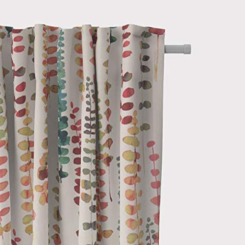 SCHÖNER LEBEN. Vorhang Ranken Blätter Aquarell beige terrakotta grün rot 245cm oder Wunschlänge, Gardinen Aufhängung:Smok-Schlaufenband