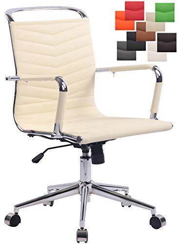 CLP Bürostuhl Burnley mit Kunstlederbezug und Laufrollen | Chefsessel mit Lehne | Höhenverstellbarer ergonomischer Bürosessel Creme