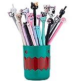RECHENG With pen holder cartoon cat pens set,so cute kawaii fun black ink pens for kids gift office school supplies,24pcs writing pens set