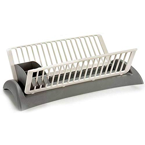 TENDENCIA ÚNICA Escurreplatos de plástico, Capacidad hasta 18 Platos. Cubertero extraíble con 2 Compartimentos (Blanco y Gris)