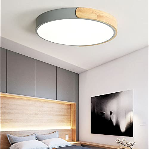 ZHANGQ Luz de techo LED redonda, luz de techo de madera ultrafina, luz de techo moderna regulable, iluminación interior, alto brillo, tipo de ahorro de energía/D / 31×5cm