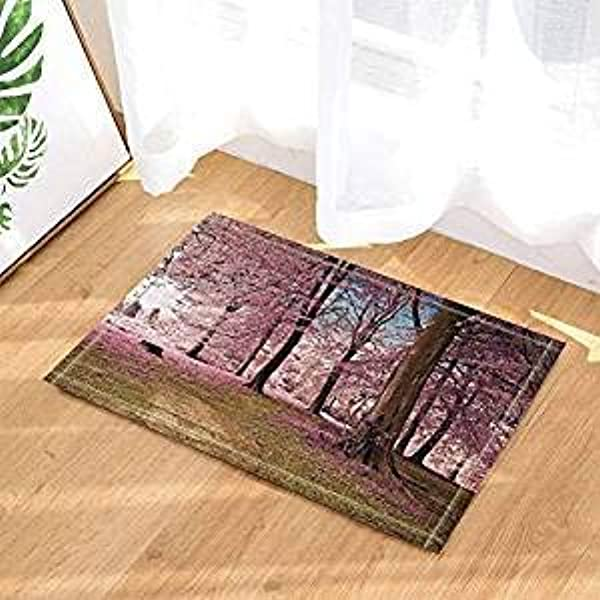 Zhanghui2018 Blue Sky Pink Peach Forest Brown Land Bathroom Mat Right Angle Non Slip Door Pad Children 40X60CM