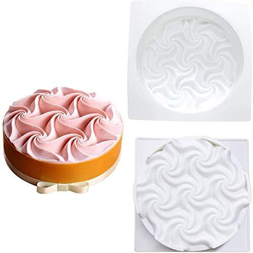 Siliconen mal, siliconen cakevorm, spiraalvormige bloemmousse Cake siliconen mal, bakvormen Innovatieve Franse dessert cakevorm,White