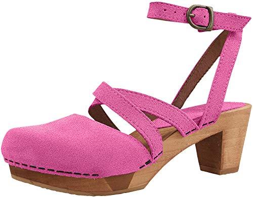 Sanita Tinja Zueco Sandalia | Original Hecho a Mano Flexible Cuero Zueco Sandalia para Mujer, color Rosa, talla 37 EU