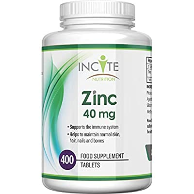 Zinc 40mg   400 Premium Zinc Tablets Over 12 Month's Supply   Maximum Strength Quality Pure Zinc Tablet   Suitable for Vegetarian & Vegans   Made in The UK by Incite Nutrition®