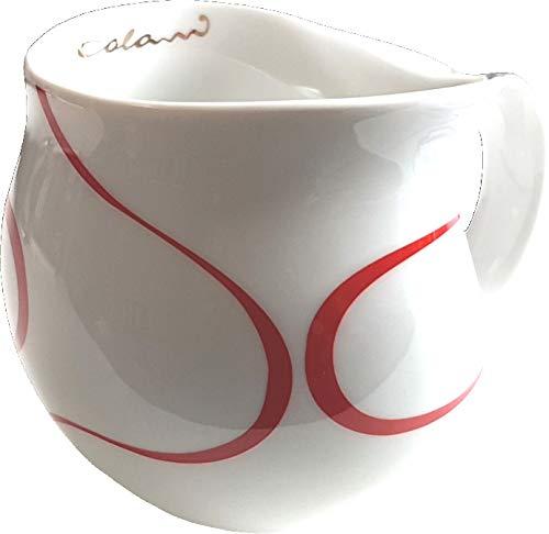 """Luigi Colani dekorierte Kaffeetasse Becher Tasse Cappuccinotasse Kaffeebecher """"Gold&Color"""" Loop rot/red 280 ml"""